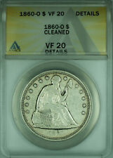 1860-O Seated Liberty One Dollar $1 Silver Coin ANACS VF-20 Details Cleaned