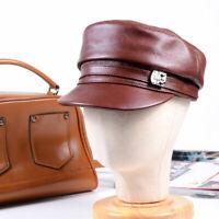 Women's Ladies Genuine leather Cowhide Flat Cap Newsboy Beanie Beret Hats/Caps