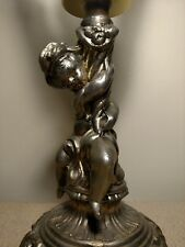 Vintage Brass Toned Cherub Lamp Torch Lamp Frosted Glass Flame Globe Table Lamp
