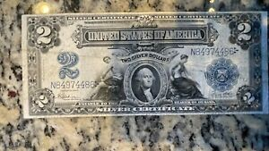 1899 $2 USA Silver Certificate Mini Porthole Ungraded