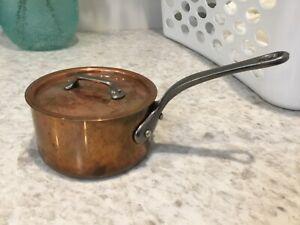 Mauviel 2.5mm Copper 1.2 Qt Saucepan w Lid Stainless Lined Cast Iron Handles