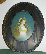 LOVELY VICTORIAN PICTURE WITH A GORGEOUS DECORATIVE OVAL WOOD FRAME!