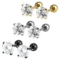 18G Stainless Steel Men's Women's Stud Earrings Cartilage Ear Piercings Pair of