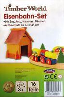 Timber World Eisenbahn-Set 16 teilig  Holzeisenbahn / tolles Set