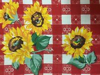 """Red Plaid Sun Flower Print Poly Cotton Fabric - Sold By The Yard - 59"""""""