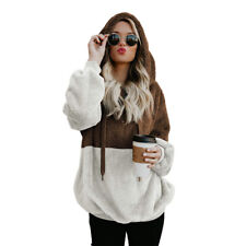 Women's Teddy Bear Fleece Fur Hooded Jacket Coat Pullover Hoodie Sweater Jumper