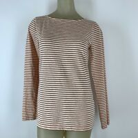 J Crew Woman shirt top Tee Copper striped knit cotton Size medium
