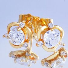 Brilliant Cubic Zircon Womens Stud Earrings Yellow Gold Filled free shipping
