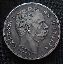 RARE ITALIA 1878 UMBERTO I 5 LIRE di alta qualità molto bassa mintage KM # 20