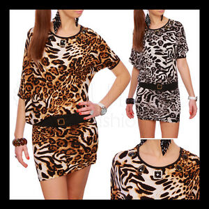 Amazing Tunic Animal Print Dress Asimetric Opal Details Cotton +Belt FREE RO01HQ