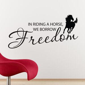 WE BORROW FREEDOM WALL STICKER HORSEBOX TRAILER VINYL ART DECAL QUOTE w118