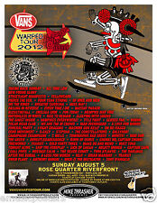 VANS WARPED TOUR 2012 CONCERT POSTER -Taking Back Sunday,All Time Low,Yellowcard