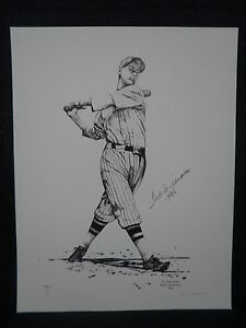 Ted Williams Signed Boston Red Sox 1936 San Diego Padres Baseball Lithograph JSA