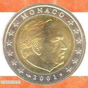 Kursmünzen Monaco: 2 Euro Münze 2001 Fürst Rainier zwei€ Kursmünze Erstausgabe