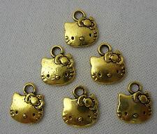 6 x Oro / Dorato Hello Kitty Viso Ciondoli per Collane Bracciali, Gioielleria