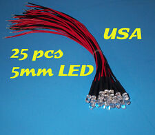 25 pcs  LED - 5mm PRE WIRED LEDS 12 VOLT ~ WARM WHITE ~ 12V PREWIRED
