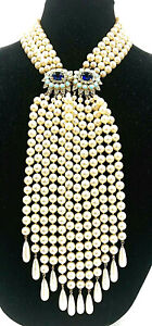 Kenneth Jay LANE KJL Laguna Necklace Pearl Turquoise MultiRows Lariat Statement