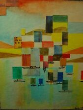 1972 Cubist Painting Sailboats Mixed Media Kris Steubing
