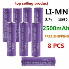8 PCS High Drain Rechargeable Battery 18650 35A 3.7V LI-MN 2500mAh Button Top LY