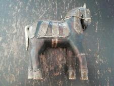 Cheval Indien Bois Laiton Cuivre Sculpture Art Oeuvre Décoration