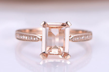 2.1ct Emerald Cut Pink Morganite Solitaire Engagement Wedding Ring 14k Rose Gold