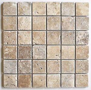 2x2 Walnut Tumbled Aged Travertine Mosaic Tile Wall Floor