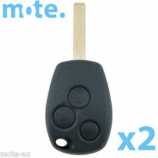 2 x Renault Car Key/Remote Blank 3 Button Replacement Shell/Case/Enclosure