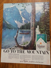 1960 Alpine Cigarette Ad  Go to the Mountain Romantic Couple in a Canoe