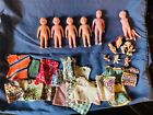Vintage Celluloid And Plastic Doll Lot With Homemade Clothes