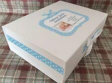 Extra Large Photo Personalised New Baby Boy Keepsake Memory Box christening gift
