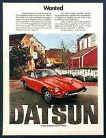 "1972 Datsun 240Z 240-Z Coupe photo ""WANTED Sporty GT"" vintage print ad"
