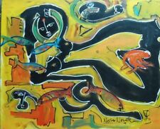 NUDE W FISH PAINTING BY NEITH NEVELSON GRAND DAUGHTER TO LOUISE NEVELSON