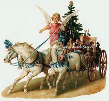Vintage Victorian Christmas Postcard Printed onto Fabric Victorian Horses Angel