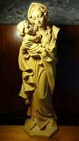 """✞ LARGE XL 35"""" VINTAGE HAND CARVED WOODEN OUR LADY MARY MADONNA + JESUS STATUE ✞"""