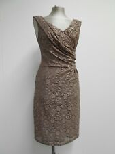 Reiss dress light brown floral stretch lace draped design evening, formal UK8