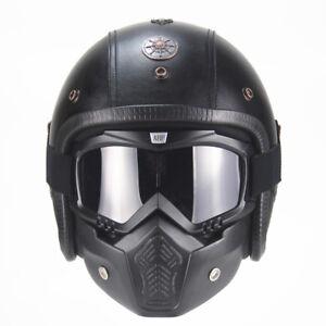 2021 PU Leather s Vintage Helmets 3/4 Motorcycle Chopper Biker Half Helmet