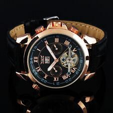 Herren Uhr Armbanduhr Watch Uhr Automatik Mechanisch Skelett Golden Schwarz