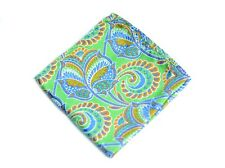 Umberto Algodon Napoli Men's Bright Lime Blue Paisley Woven Pocket Square