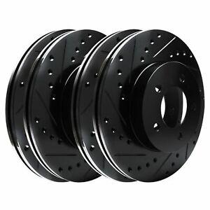 For 2008-2015 Scion xB Hart Brakes Front Rear Black Drilled Slotted Brake Rotors