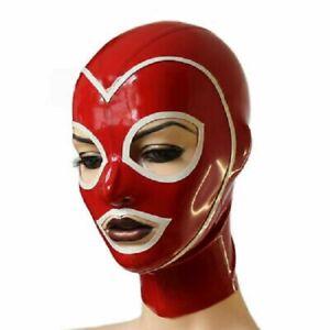 100% Latex Rubber Hood anti-clip hair Headgear Tight Zip 0.4MM Open mouth eyes