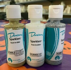 Set of 3 Duncan Sparklers Glitter Paint Crystal, Gold, Silver Painting Ceramics