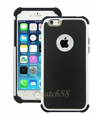for iPhone 6 4.7 inch phone white black triple layer ruged hybrid hard soft case