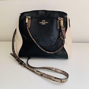 COACH Python Trim Leather Minetta Convertible Tote Shoulder Bag Black & Ivory