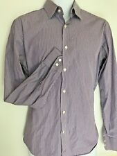 Hugo Boss Dress Shirt Long Sleeve Purple Stripe Men's 15 1/2 34  K8