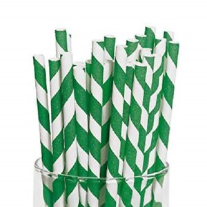 """Green And White Striped Paper Straws 8"""" (20cm) Biodegradable Compostable 6mm Dia"""