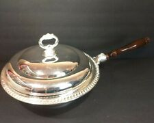 Vintage Sheridan Silver Plated Victorian Chafing Dish With Lid And Wood Handle