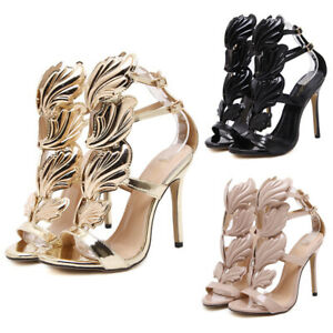 Women's High Heels Party Bridal Sandals Wing T-Strap Peep Toe Wedding Prom Shoes