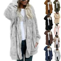 2018 Women Winter Hooded Fluffy Coat Fleece Jacket Loose Ladies Tops Cardigan US