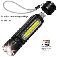 50000LM COB LED Flashlight Rechargeable Zoomable T6 torch Side Work Light