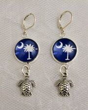 South Carolina Palmetto Tree Earrings w/ Silver Turtle Charm Lever Back Earrings